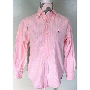 RALPH LAUREN Pink Striped Button Front Shirt